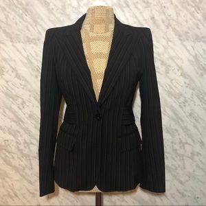 MaxMara Wool Striped Blazer Blue Size 6